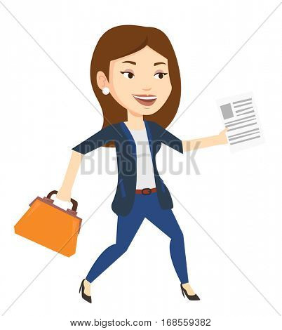 Caucasian business woman with briefcase and a document running. Business woman running in a hurry. Cheerful business woman running forward. Vector flat design illustration isolated on white background