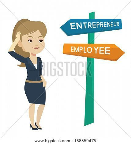 Caucasian woman standing at road sign with two career pathways - entrepreneur and employee. Young woman making a decision of future career. Vector flat design illustration isolated on white background