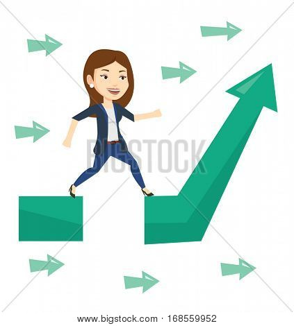 Businesswoman facing with business obstacle. Caucasian businesswoman coping with business obstacle successfully. Business obstacle concept. Vector flat design illustration isolated on white background