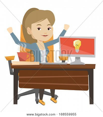 Young businesswoman working on a laptop on a new business idea. Caucasian woman having a business idea. Successful business idea concept. Vector flat design illustration isolated on white background.