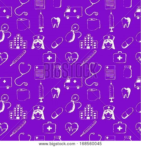 Purple seamless pattern-medical items. This illustration is drawn with a pencil.