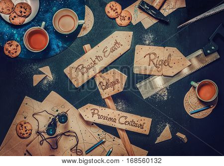 Wooden road signpost with extraterrestrial destinations on a working table of a traveler.