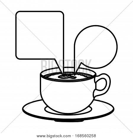 silhouette set porcelain cup coffee with dialogue callout box vector illustration