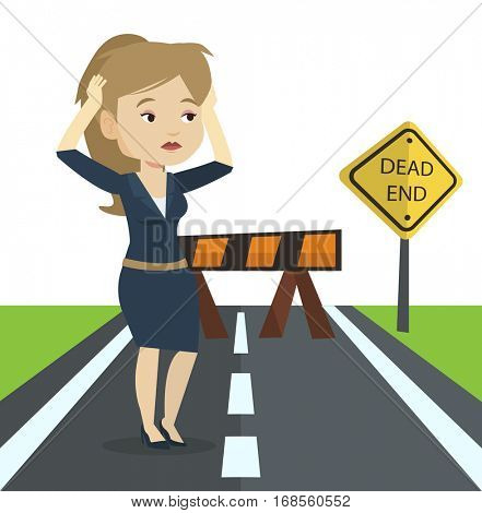 Businesswoman looking at road sign dead end symbolizing business obstacle. Woman facing with business obstacle. Business obstacle concept. Vector flat design illustration isolated on white background.