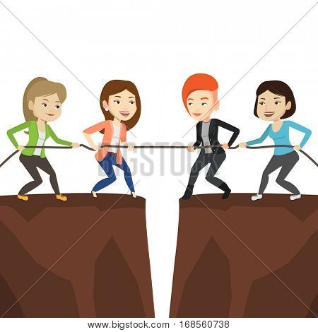Two business team pulling rope on cliff. Competition between two teams of business people. Team work and competition in business concept. Vector flat design illustration isolated on white background.