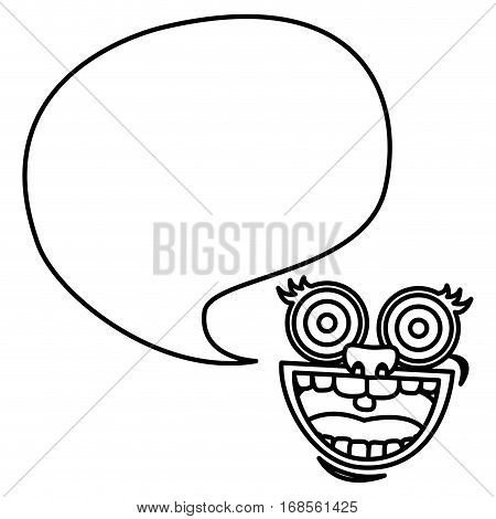 silhouette face cartoon gesture with dialog big callout box vector illustration