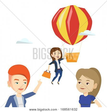 Two young employees looking at their successful colleague. Hardworking worker flying away in a balloon from her less successful colleagues. Vector flat design illustration isolated on white background