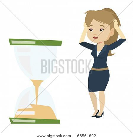Business woman looking at hourglass symbolizing deadline. Woman worrying about deadline terms. Time management and deadline concept. Vector flat design illustration isolated on white background.