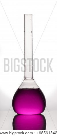 Chemical flask with liquid on a white background