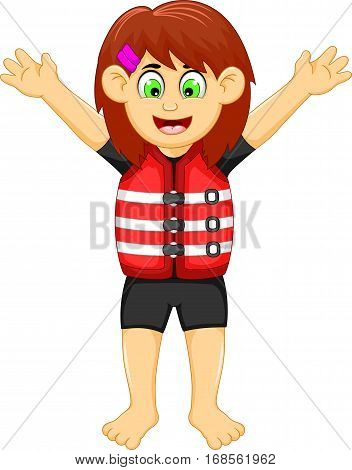 funny girl cartoon wearing life jacket for you design