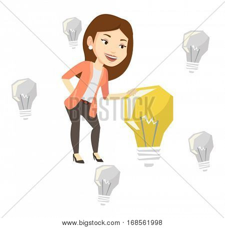 Caucasian business woman having business idea. Business woman standing among unlit idea light bulbs and looking at the brightest idea bulb. Vector flat design illustration isolated on white background