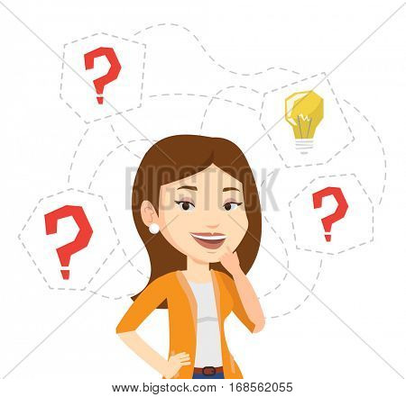 Caucasian woman having business idea. Businesswoman standing with question marks and idea light bulb above her head. Business idea concept. Vector flat design illustration isolated on white background