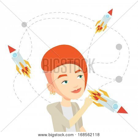 Caucasian woman looking at flying business rockets. Young woman came up with an idea for a business startup. Business startup concept. Vector flat design illustration isolated on white background.