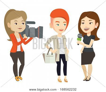 Caucasian reporter with microphone interviews a woman. Female operator filming interview. Journalist making interview with businesswoman. Vector flat design illustration isolated on white background.
