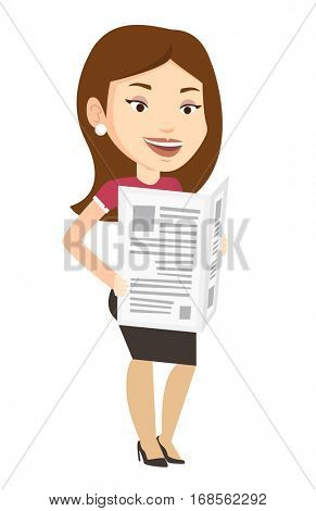 Cheerful caucasian woman reading the newspaper. Young smiling woman reading good news in newspaper. Woman standing with newspaper in hands. Vector flat design illustration isolated on white background