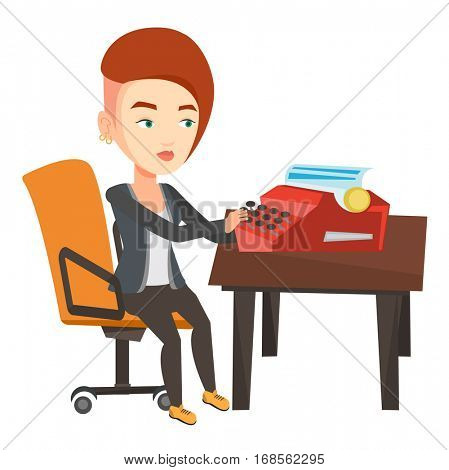 Young caucasian female journalist writing an article on a vintage typewriter. Concentrated female journalist working on retro typewriter. Vector flat design illustration isolated on white background..