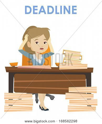 Business woman sitting at workplace and clutching head because of missed deadline. Caucasian business woman having problem with deadline. Vector flat design illustration isolated on white background.