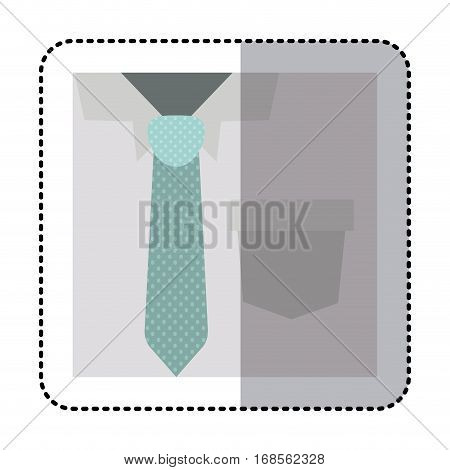 sticker square close up formal shirt with dotted necktie vector illustration