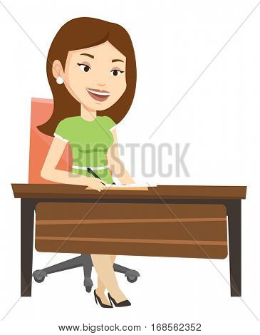 Journalist sitting at the table and writing notes in notebook. Journalist writing an article. Journalist working at the table in office. Vector flat design illustration isolated on white background.