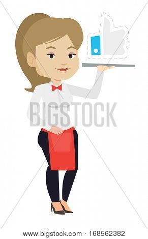 Waitress carrying tray with social network like button. Waitress holding tray with like button. Waitress with social network like button. Vector flat design illustration isolated on white background.