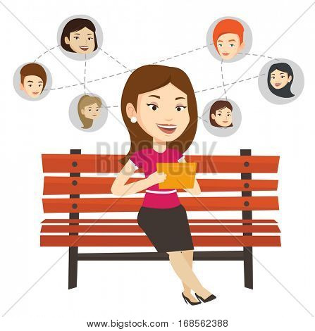Woman sitting on bench and using tablet computer with network avatar icons above. Woman surfing in social network. Social network concept. Vector flat design illustration isolated on white background.