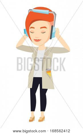 Caucasian woman listening to music on smartphone. Woman in headphones listening to music. Relaxed woman with eyes closed enjoying music. Vector flat design illustration isolated on white background.