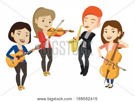Band of musicians playing on musical instruments. Group of musicians playing on musical instruments. Musicians performing with instruments. Vector flat design illustration isolated on white background