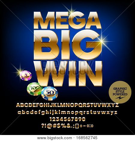 Vector casino poster Mega big win. Set of letters, numbers and symbols. Contains graphic style.