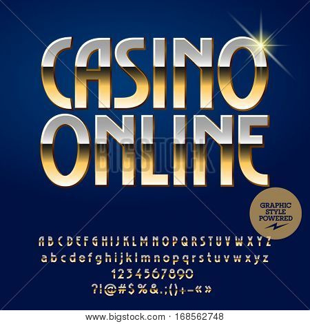 Vector casino emblem Casino online. Set of letters, numbers and symbols. Contains graphic style.