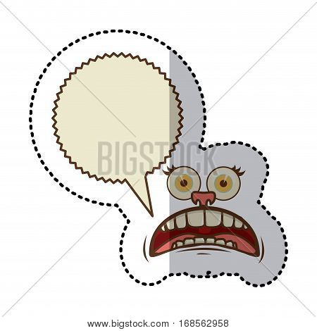 sticker colorful face cartoon gesture with dialogue scream callout vector illustration