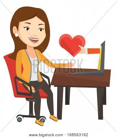 Woman using laptop and dating online. Woman looking for online date on the internet. Woman dating online and getting virtual love message. Vector flat design illustration isolated on white background.