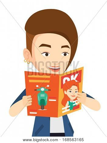 Caucasian woman reading a magazine. Young woman standing with magazine in hands. Happy woman reading good news in a magazine. Vector flat design illustration isolated on white background.