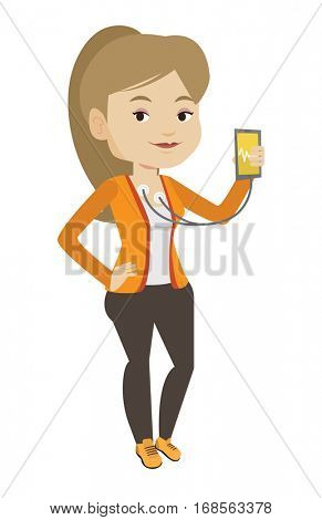 Woman checking blood pressure with smartphone app. Woman taking care of her health and measuring heart rate pulse with smartphone app. Vector flat design illustration isolated on white background.