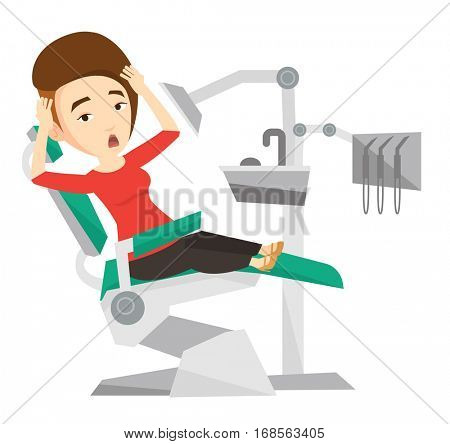 Frightened caucasian patient at dentist office. Scared woman in dental clinic. Girl visiting dentist. Afraid woman sitting in dental chair. Vector flat design illustration isolated on white background