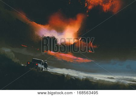 man standing by his truck looking at red light in the night sky, illustration painting