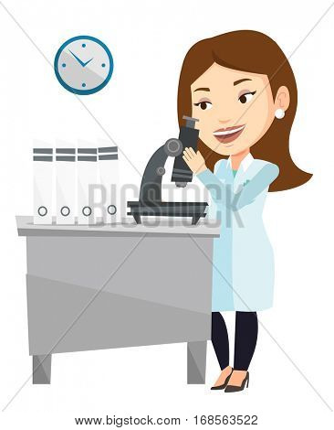 Caucasian laboratory assistant working with microscope. Young scientist working at the laboratory. Laboratory assistant using a microscope. Vector flat design illustration isolated on white background