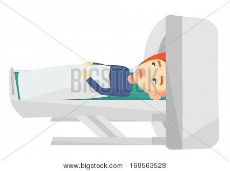 Young caucasian woman undergoes a magnetic resonance imaging scan test in hospital. Magnetic resonance imaging machine scanning patient. Vector flat design illustration isolated on white background.
