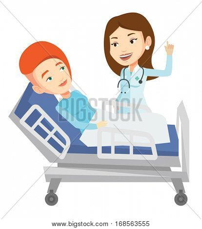 Young doctor visiting patient. Doctor pointing finger up during visiting of patient. Woman lying in hospital bed while doctor visits her. Vector flat design illustration isolated on white background.