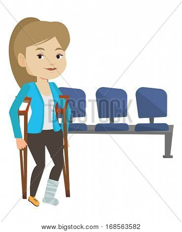 An injured caucasian woman with leg in plaster. Young woman with broken leg using crutches. Smiling woman with fractured leg. Vector flat design illustration isolated on white background.