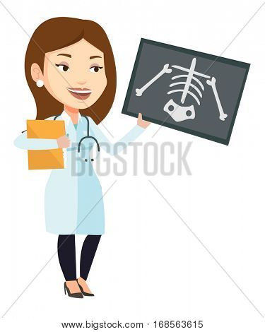 Caucasian female doctor examining a radiograph. Young doctor looking at a chest radiograph. Female doctor observing a skeleton radiograph. Vector flat design illustration isolated on white background.