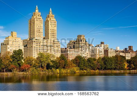 Upper West Side buildings and Central Park in Fall. Manhattan New York City
