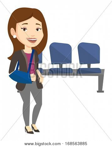 An injured caucasian woman wearing an arm brace. Young woman standing with her broken right arm. Cheerful woman with broken arm in a cast. Vector flat design illustration isolated on white background.
