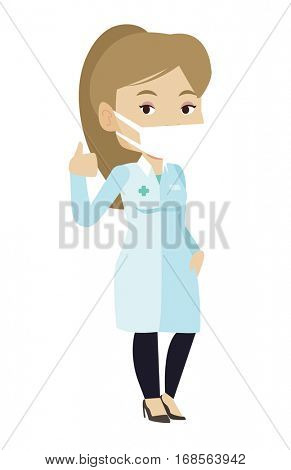 Caucasian female doctor in mask giving thumbs up. Doctor in medical gown showing thumbs up gesture. Female doctor with gesture thumb up. Vector flat design illustration isolated on white background.
