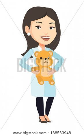 Female pediatrician doctor holding a teddy bear. Pediatrician doctor standing with a teddy bear. Caucasian pediatrician in medical gown. Vector flat design illustration isolated on white background.