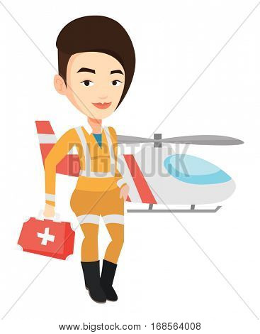 Female doctor of air ambulance. Doctor of air ambulance standing in front of rescue helicopter. Doctor of air ambulance with first aid box. Vector flat design illustration isolated on white background