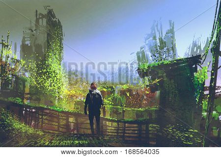 man standing on old bridge in overgrown city, illustration painting