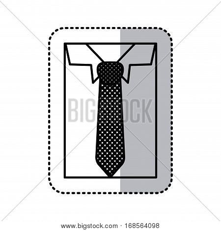 sticker monochrome contour close up formal shirt with necktie vector illustration