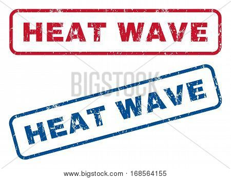 Heat Wave text rubber seal stamp watermarks. Vector style is blue and red ink caption inside rounded rectangular shape. Grunge design and scratched texture. Blue and red stickers.