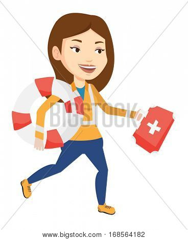 Caucasian paramedic running to patients. Paramedic running with first aid box. Emergency doctor running with first aid box and lifebuoy. Vector flat design illustration isolated on white background.