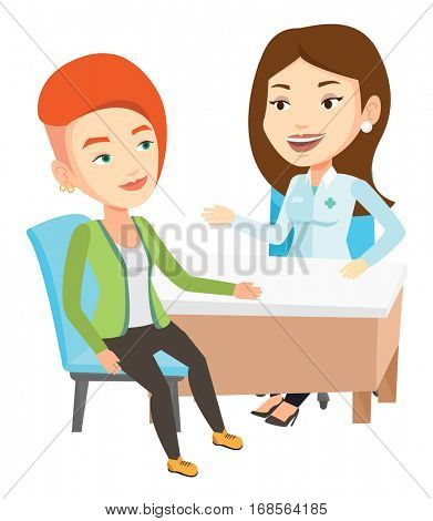 Caucasian doctor consulting patient in office. Doctor talking to patient. Doctor communicating with patient about her state of health. Vector flat design illustration isolated on white background.
